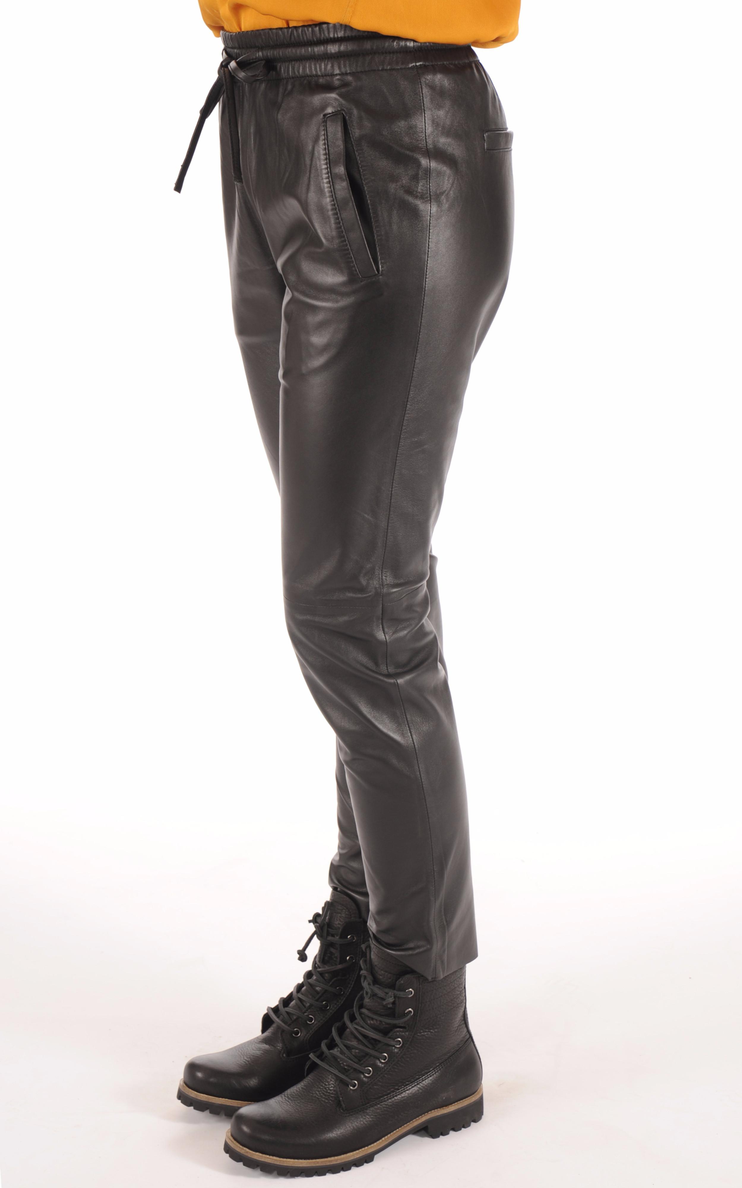 Pantalon Jogpant Cuir Noir Oakwood