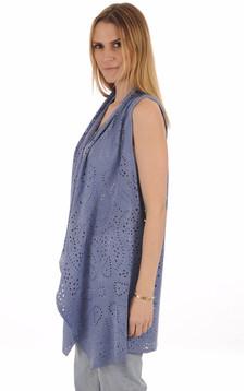 Gilet Cuir Velours Bleu Jeans Femme1