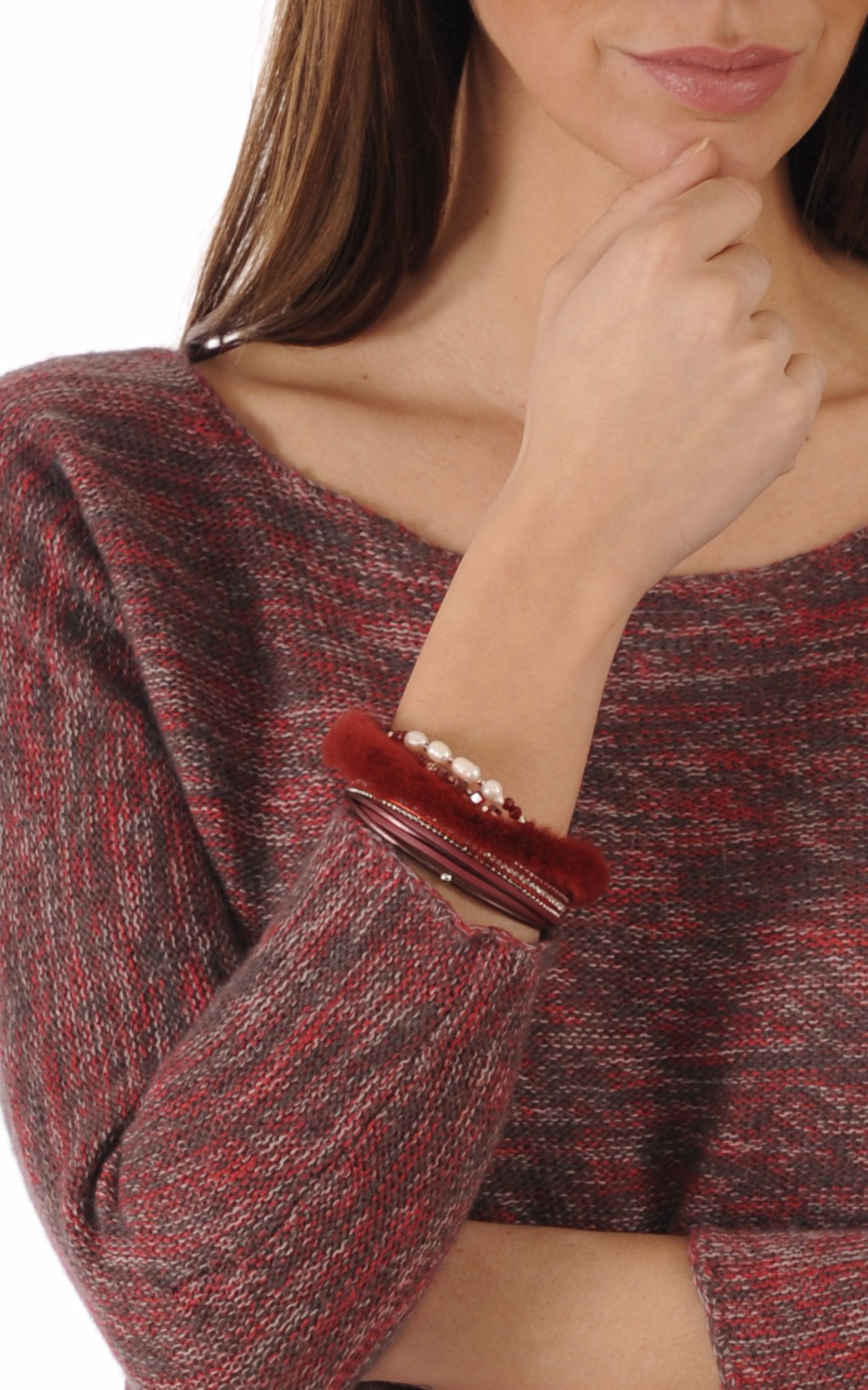 Bracelet Cuir & Vison Lie de Vin Tsanikidis