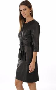 Robe Chic en Cuir Noir Avec Ceinture