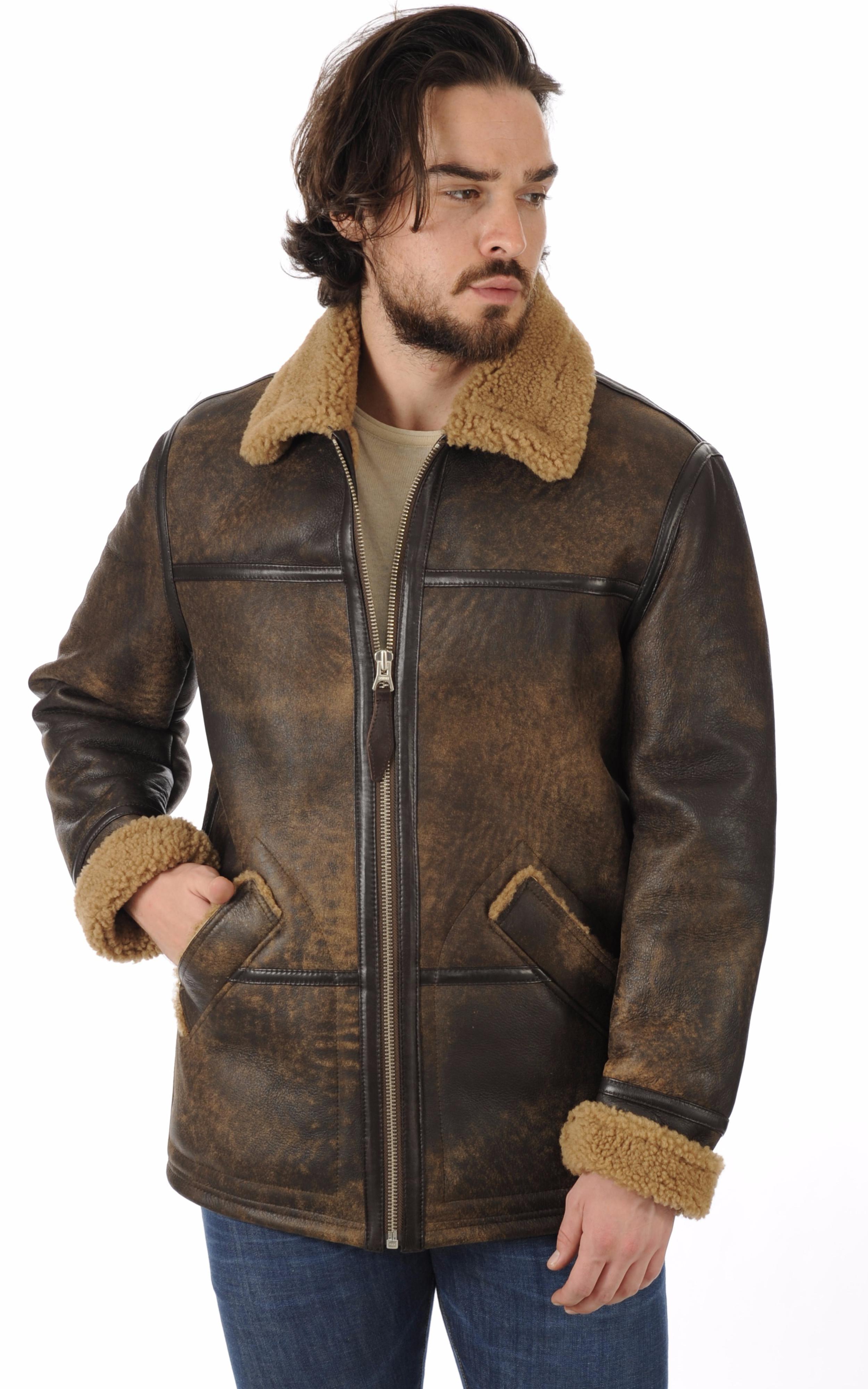 bombardier mouton lc8000 marron schott la canadienne blouson peau lain e marron. Black Bedroom Furniture Sets. Home Design Ideas