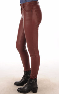 Pantalon Cuir Agneau Stretch Bordeaux Oakwood