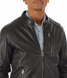 Blouson Agent cuir noir Oakwood