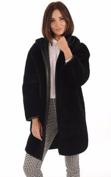 Manteau réversible mérinos noir1