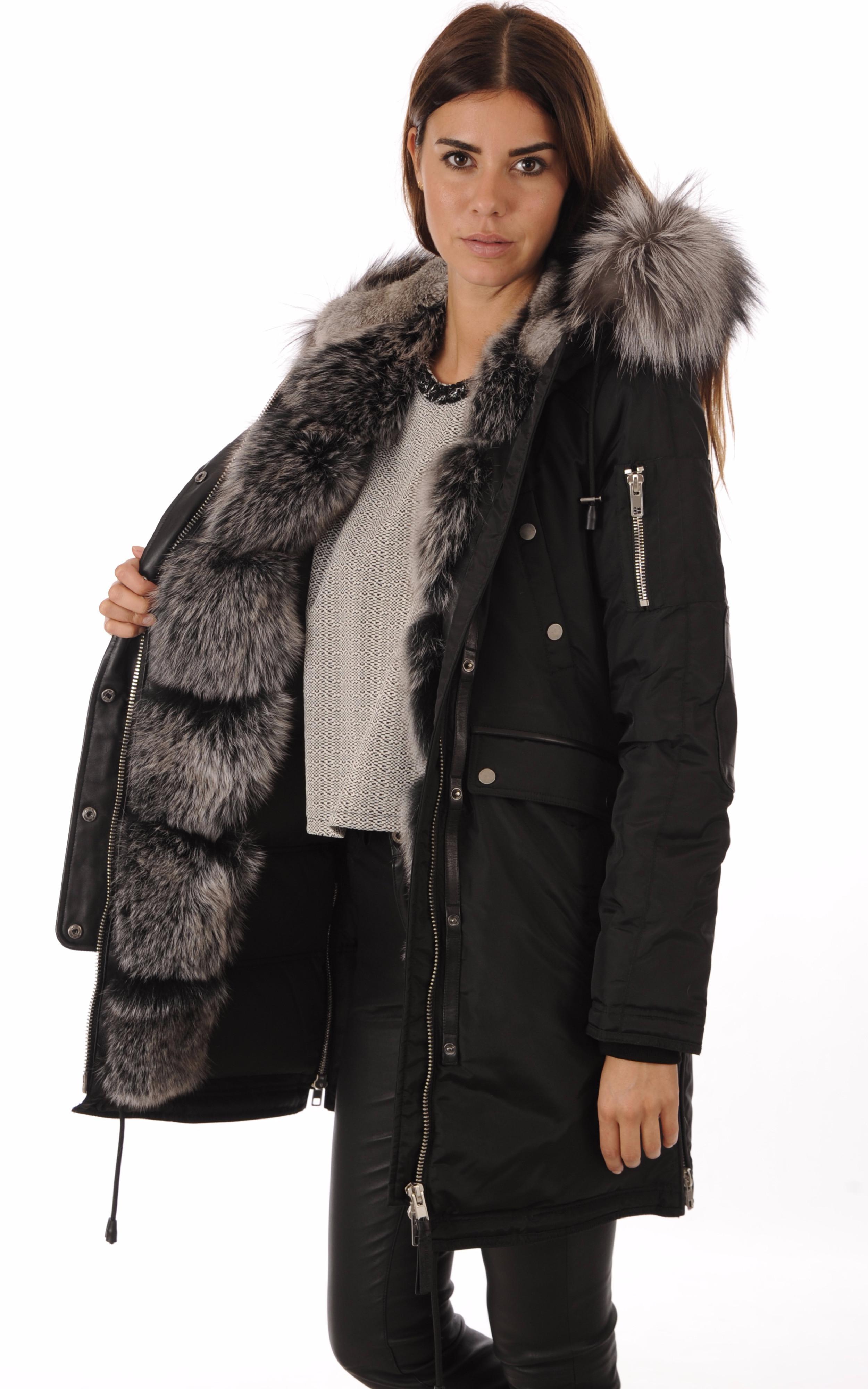 Parka Madison Black-Silver Fox Nicole Benisti