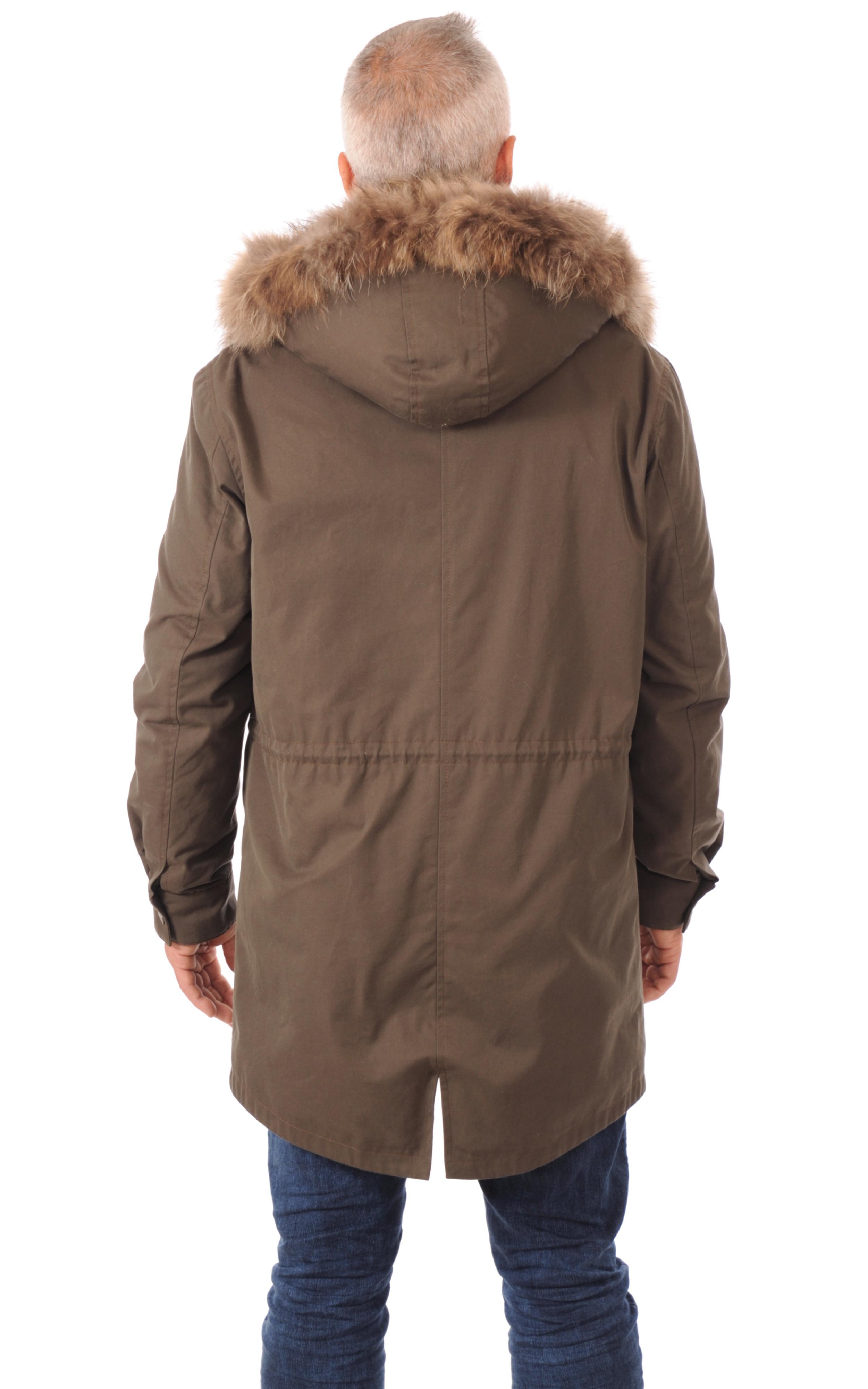 Parka Army Homme Coton et Raccoon Artico