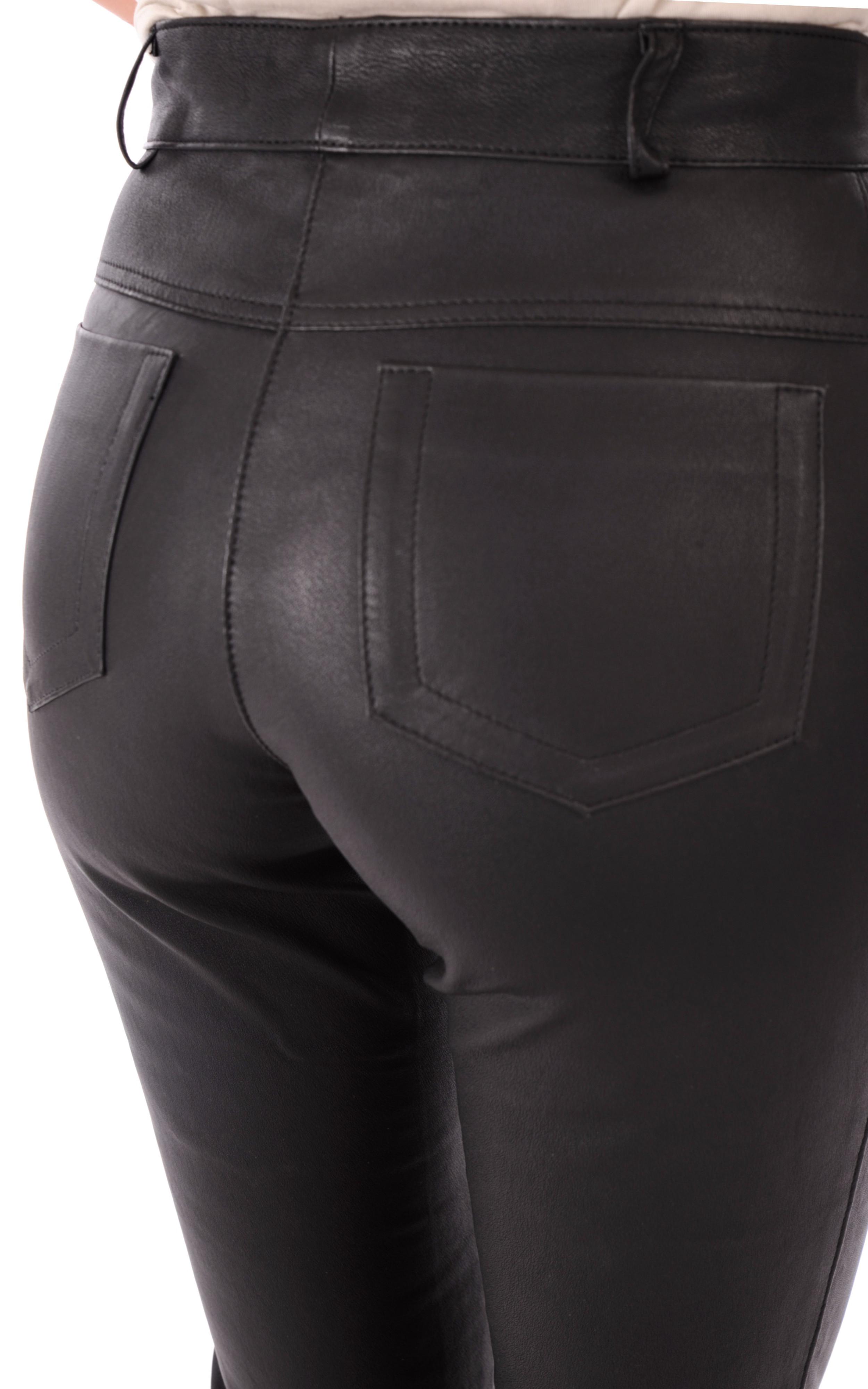 Pantalon Cuir Strecht Noir Coupe Droite La Canadienne
