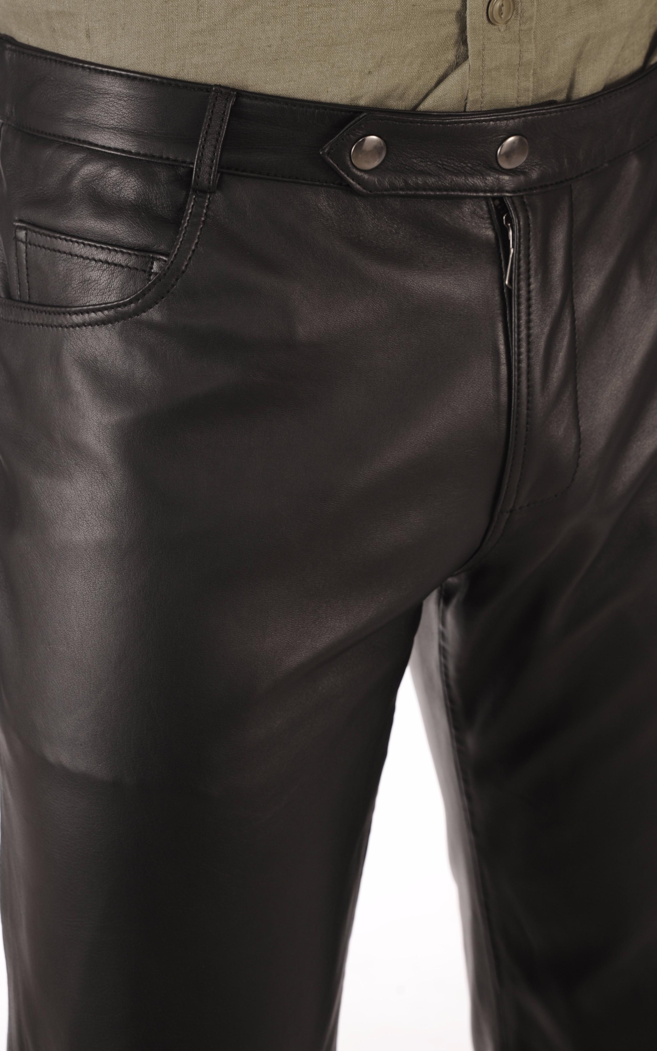 Pantalon Cuir Agneau Noir Homme La Canadienne