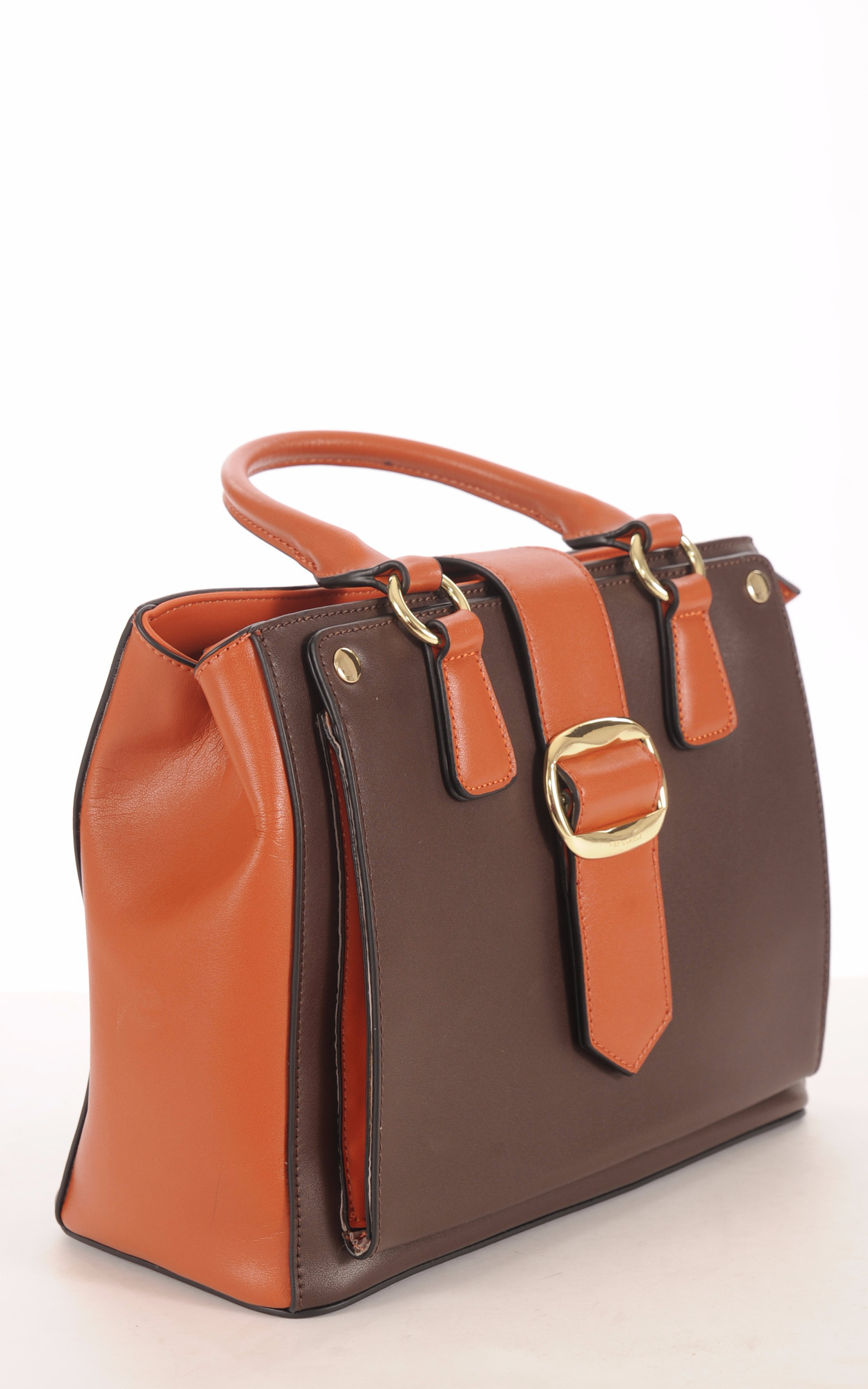 Sac Cuir Vachette Bicolore Chocolat et Orange