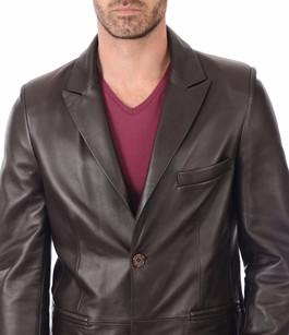 Blazer cuir marron homme la canadienne la canadienne veste 3 4 cuir marron - Blazer homme marron ...
