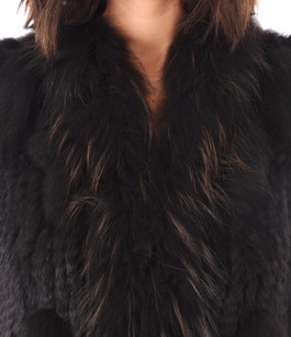 Gilet Fourrure Lapin Marron avec Franges Oakwood
