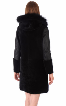 Manteau Peau Lainée bordé Fourrure