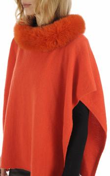 Poncho cachemire et renard orange