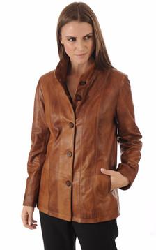 Veste Cuir Confort Cognac Femme1