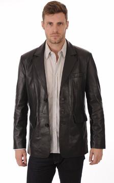 Blazer Cuir Noir pour Homme1