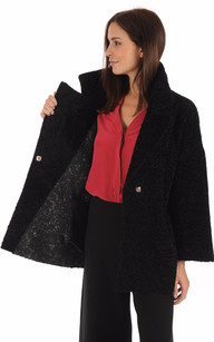 Veste Kimono Réversible Mouton Noir