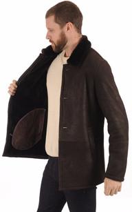 Veste en Peau lainée Marron Homme