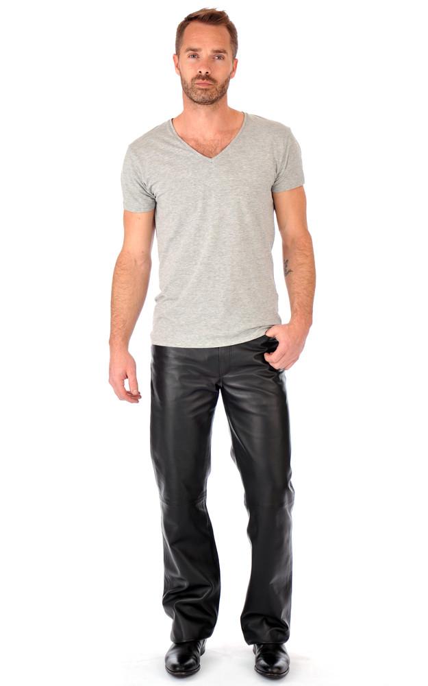pantalon cuir homme coupe 501 la canadienne la canadienne pantalon cuir noir. Black Bedroom Furniture Sets. Home Design Ideas