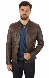 Blouson cuir oakwood homme marron