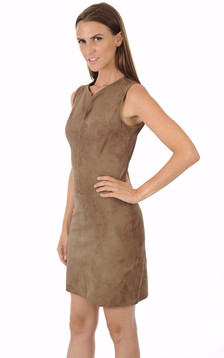 Robe cuir velours taupe