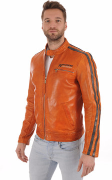 Blouson Motard Cardiff Orange1