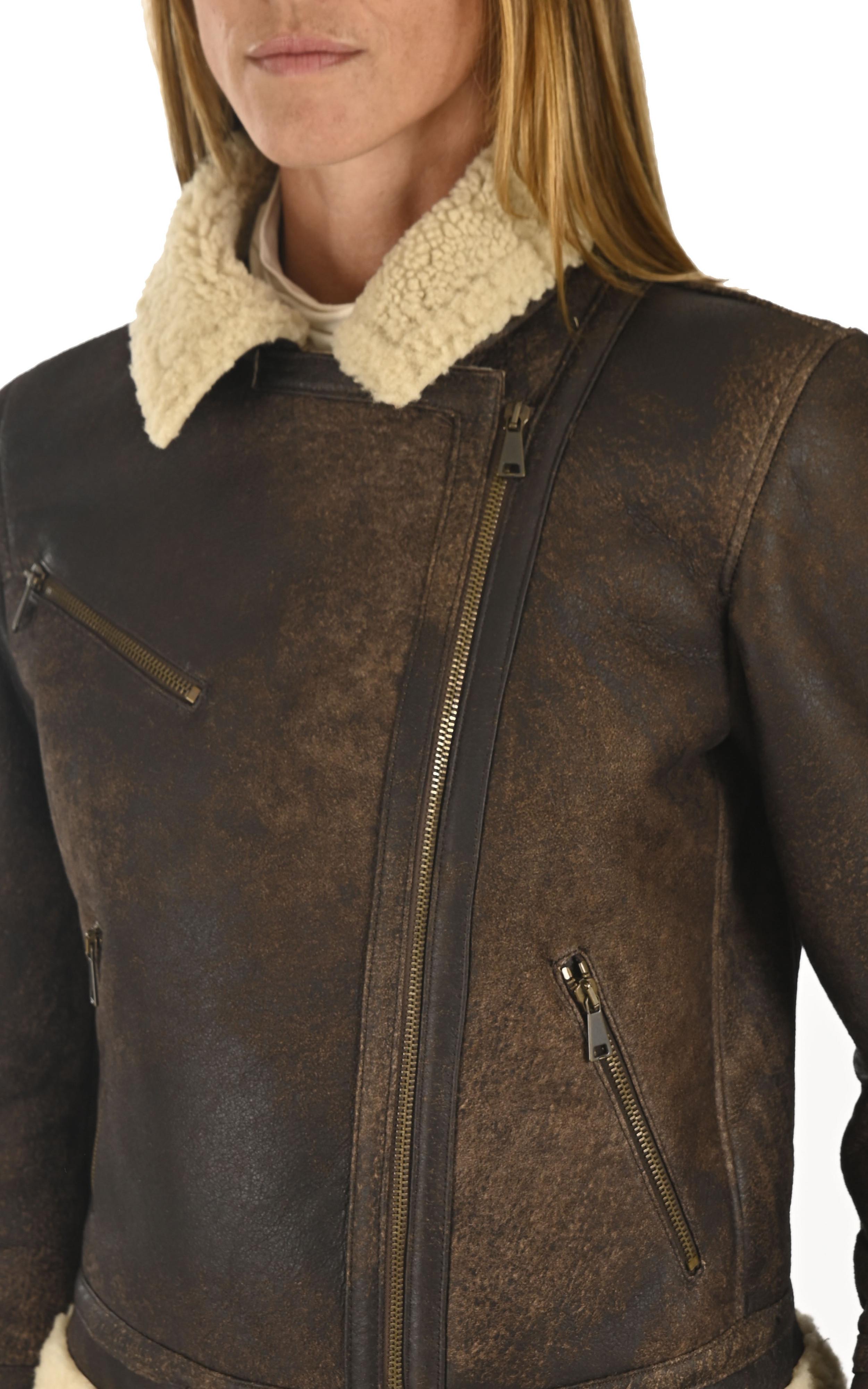 Blouson peau lainée marron La Canadienne