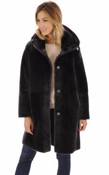 Manteau réversible peau lainée gris