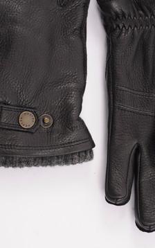 Gants en cuir d'élan noir