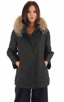 Parka Confortable Verte Fourrure Bicolore1