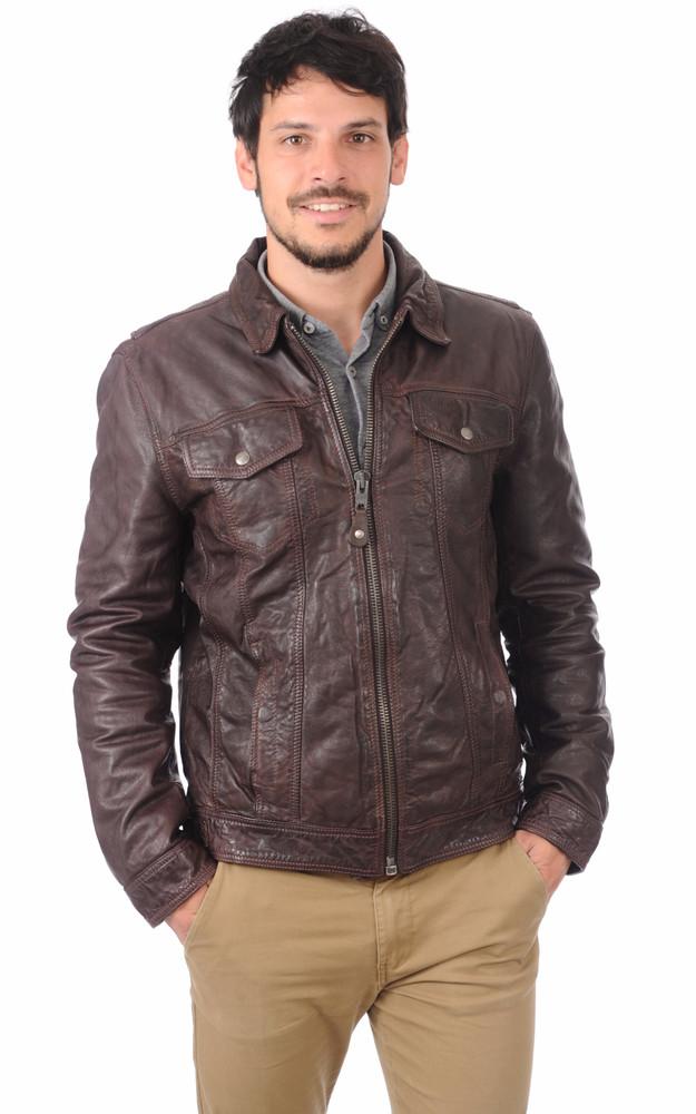 blouson cuir marron pour homme schott la canadienne blouson cuir marron. Black Bedroom Furniture Sets. Home Design Ideas