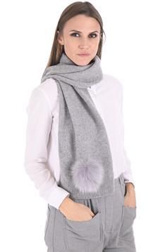 Écharpe cachemire et renard gris