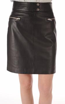 Jupe Cuir Miho Noir Taille Haute1