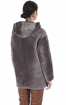 Veste peau lainée mouton taupe