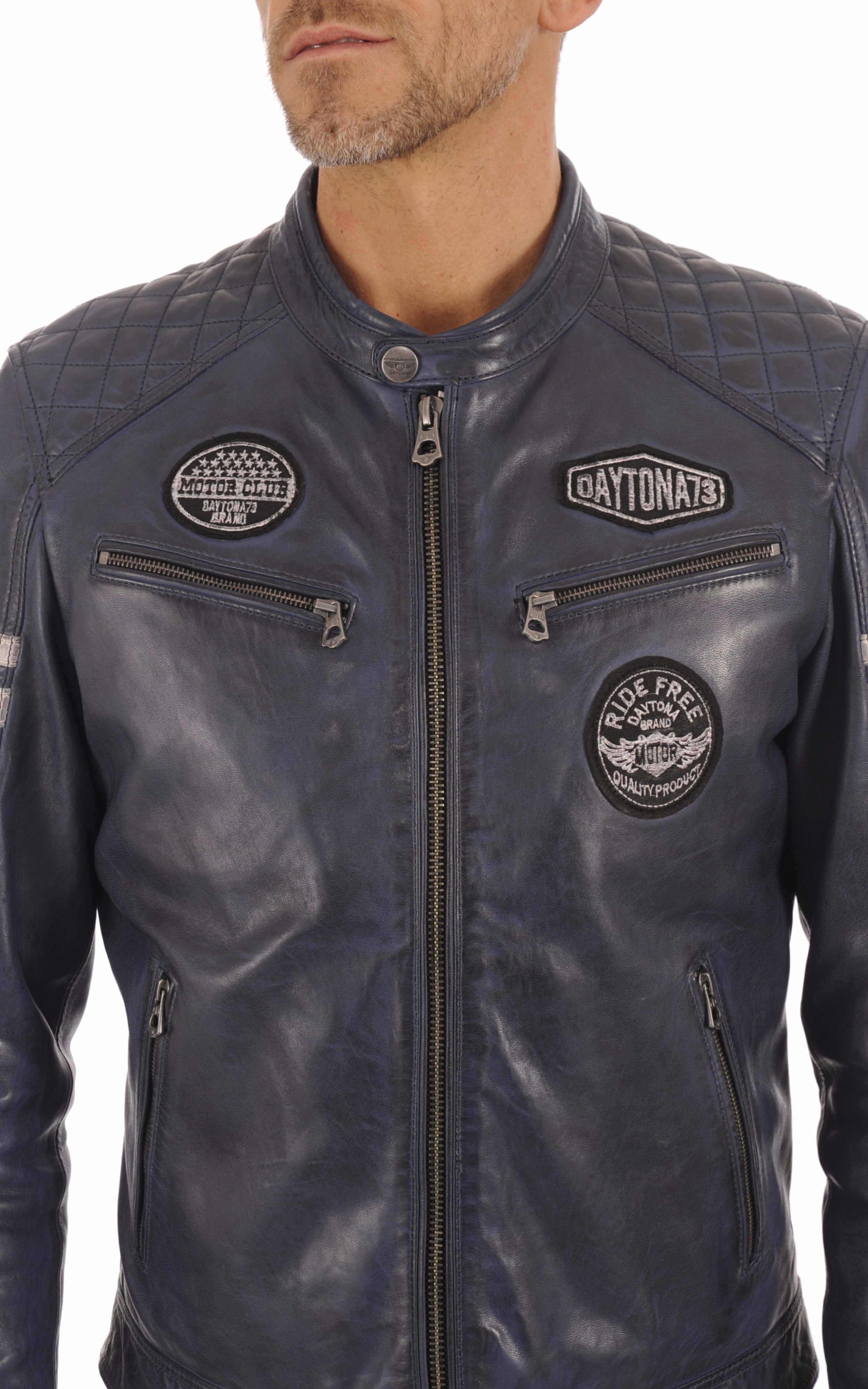 Blouson Motard Bleu Jeans Homme Daytona 73