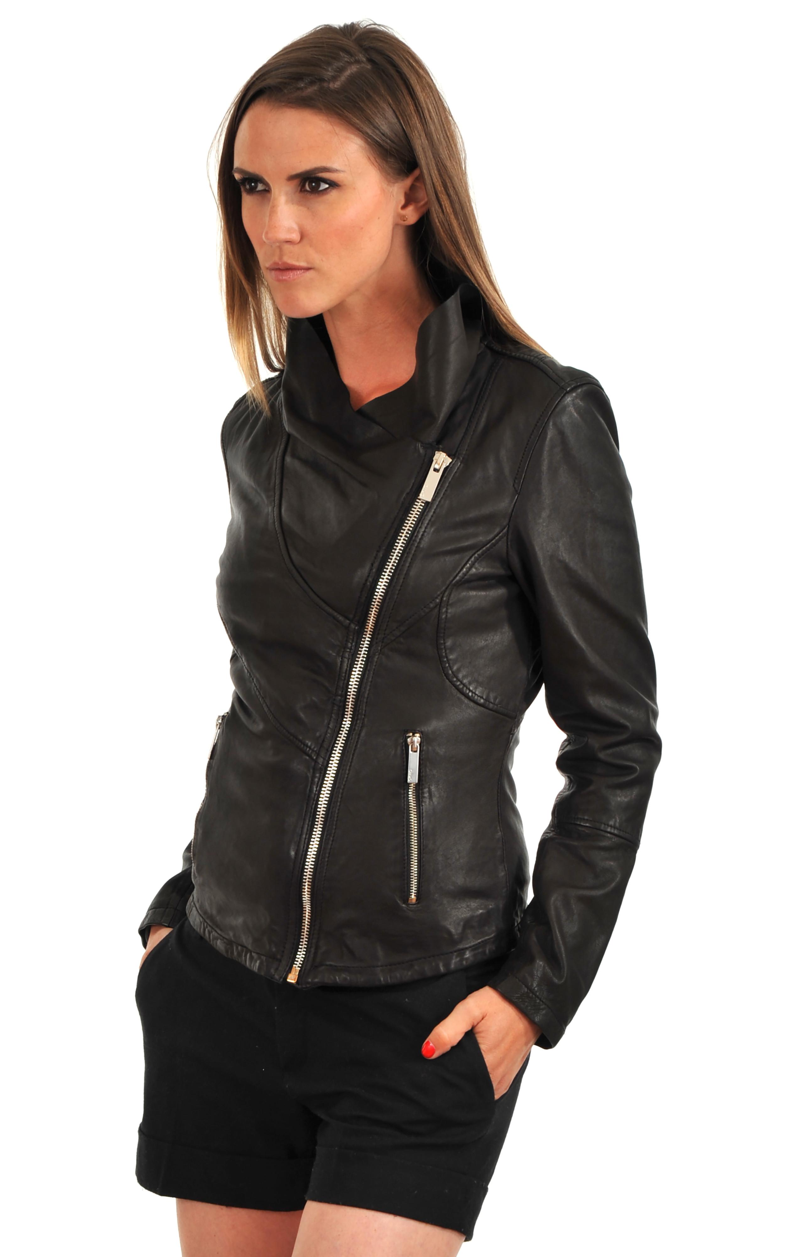 blouson cuir noir femme oakwood la canadienne blouson cuir noir. Black Bedroom Furniture Sets. Home Design Ideas