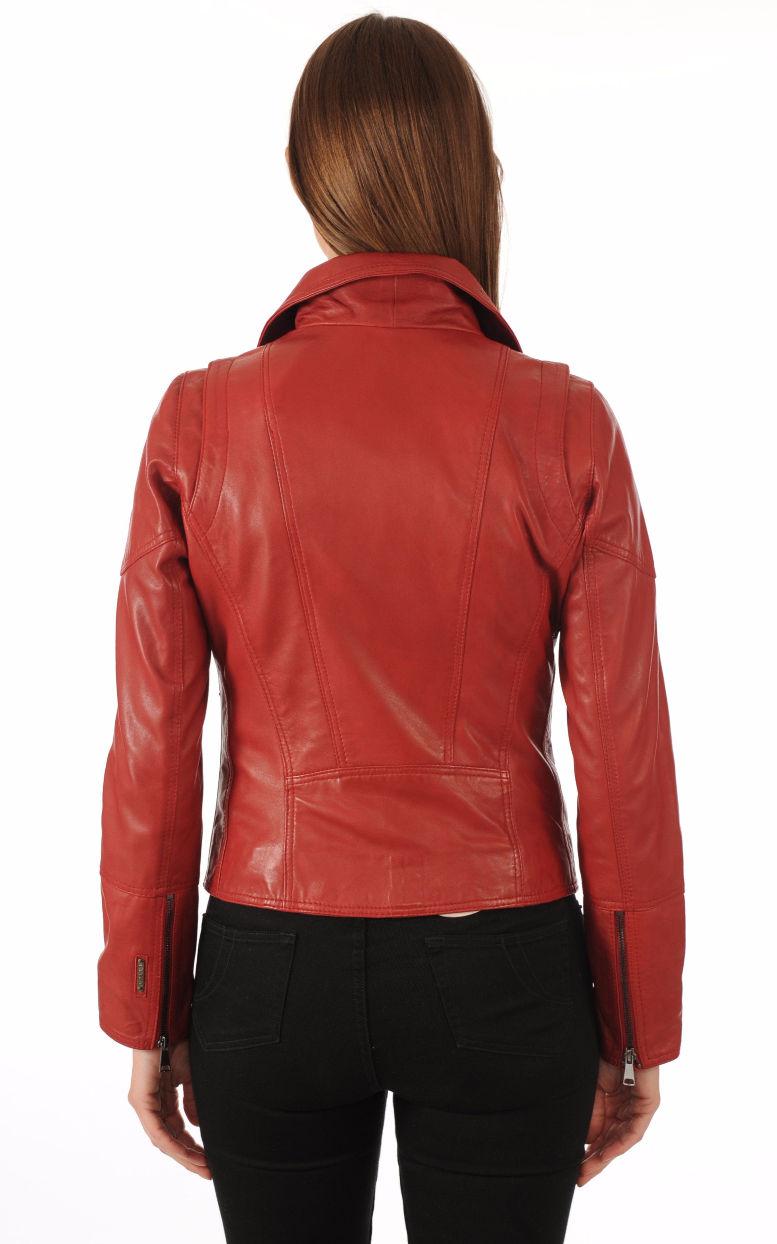 Blouson Cuir Rouge Coupe Perf Giorgio