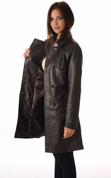 Trench Cuir Femme Chocolat