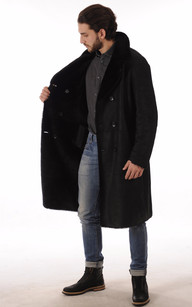 Manteau Peau Lainée Noir pour Homme
