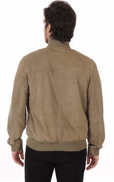 Blouson Teddy Cuirs Velours Olive