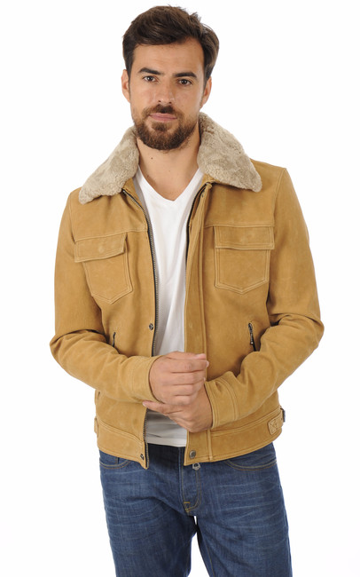 blouson cuir nubuck col mouton daytona 73 la canadienne blouson cuir camel. Black Bedroom Furniture Sets. Home Design Ideas