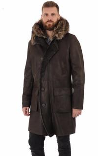 Manteau agneau et marmotte marron