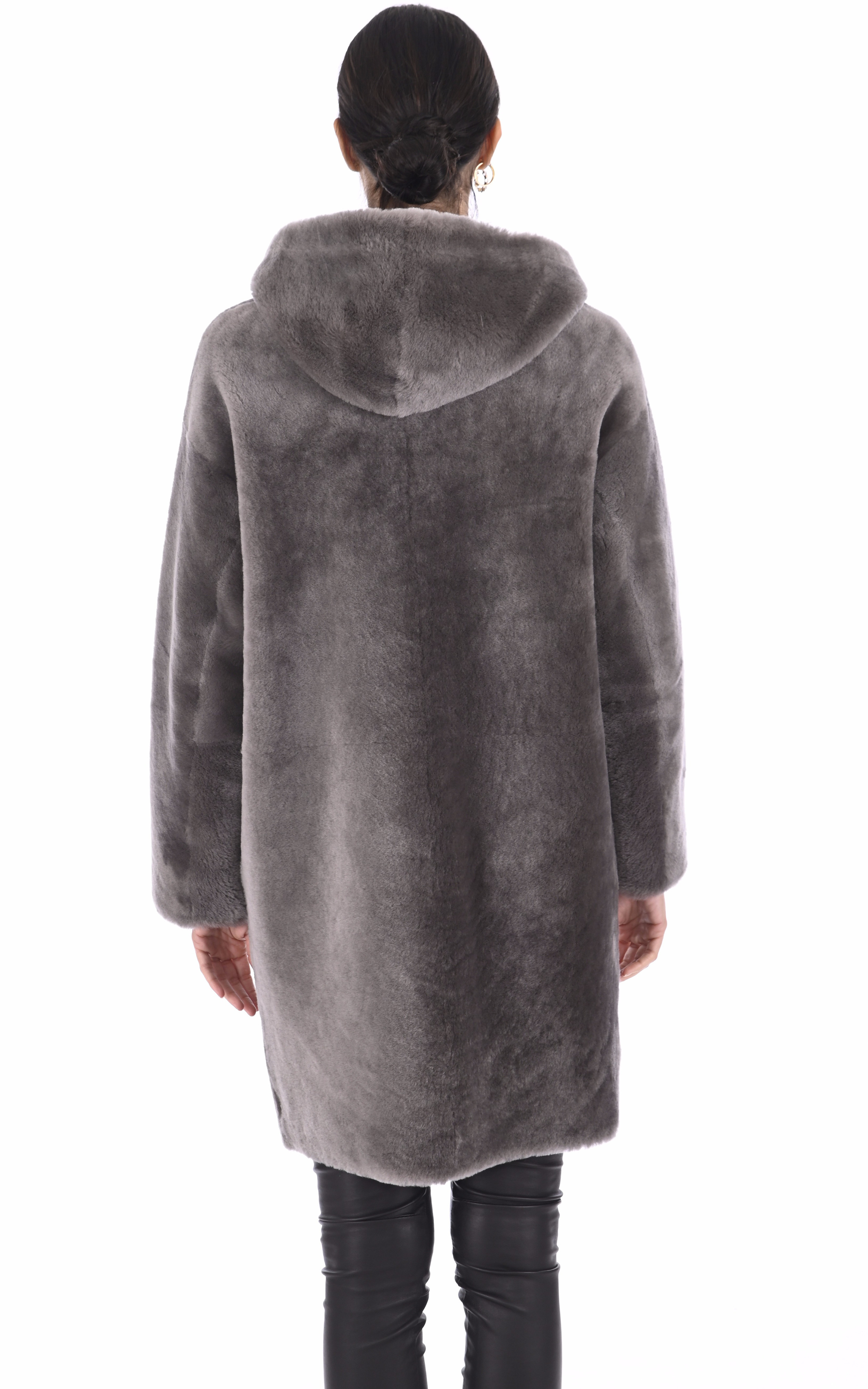 Manteau peau lainée mouton taupe Malène