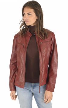 Blouson cuir confortable rouge