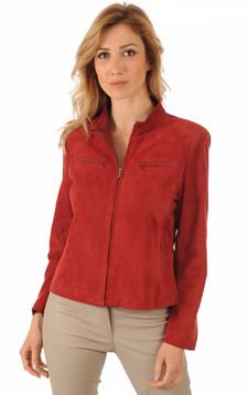Blouson Femme Cuirs Velours Rouge