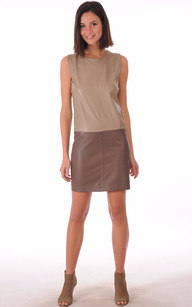 Robe Cuir Taupe Bicolore