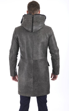 Manteau chic en laine d'agneau vieilli gris
