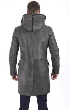 Manteau chic agneau vieilli gris