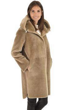 Manteau réversible agneau caramel