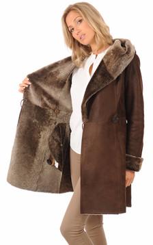 Peau lainée marron
