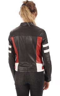 Blouson  Femme Cuir noir Racing